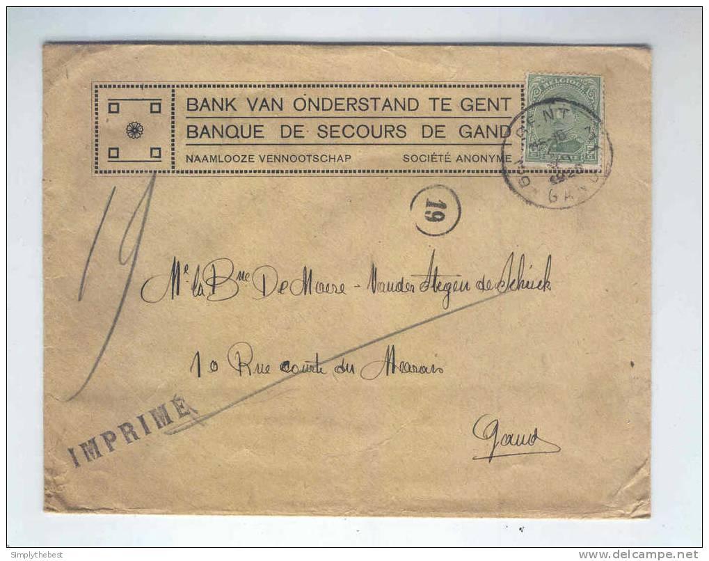 IMPRIME TP Albert 15 à 5 C GENT 1920 - Entete Banque De Secours De GAND - Bank Van Onderstand Te GENT  -- LL / 655 - 1915-1920 Albert I