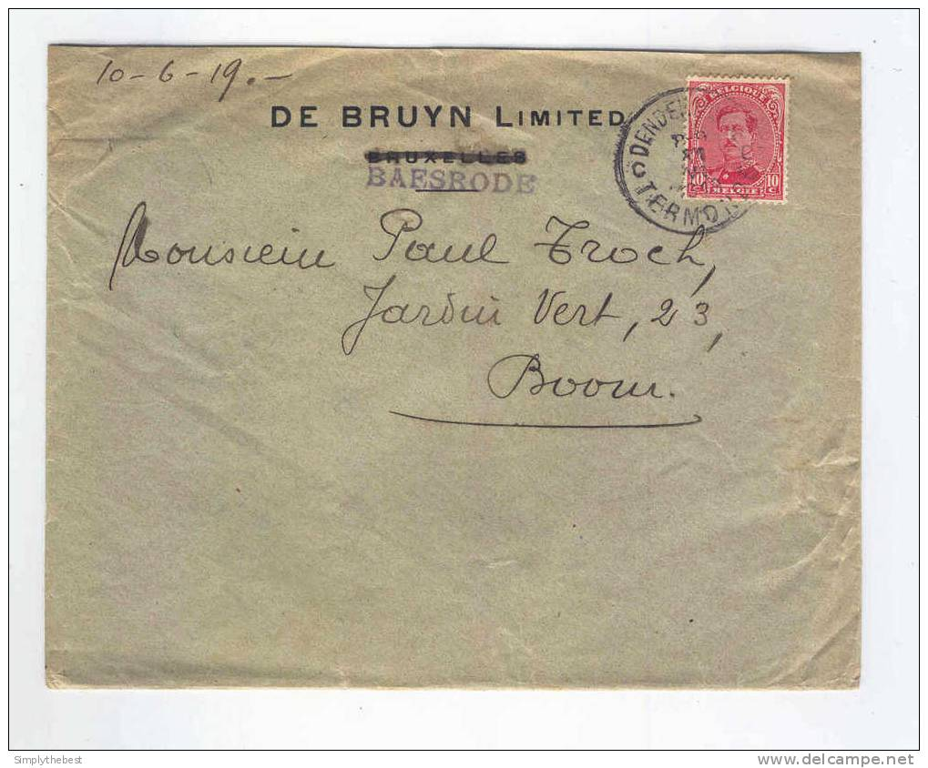 Lettre TP Albert 15 DENDERMONDE TERMONDE 1919 - Entete De Bruyn Limited à BAESRODE  -- LL / 656 - 1915-1920 Albert I