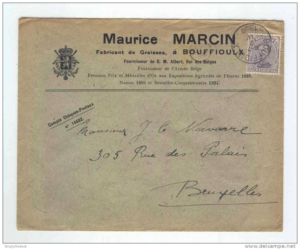 Lettre TP Albert 15 BOUFFIOULX 1920 - Entete Fabricant De Graisses Maurice Marcin   -- LL / 666 - 1915-1920 Albert I