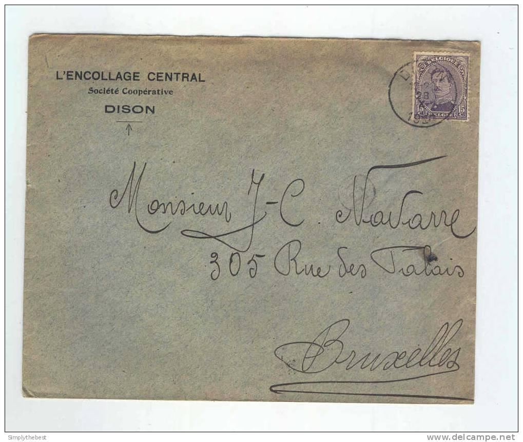 Lettre TP Albert 15 DISON 1920 - Entete L'Encollage Central , Société Coopérative   -- LL / 670 - 1915-1920 Albert I
