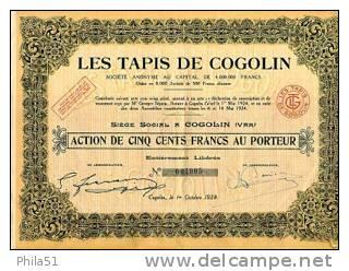 Tapis De Cogolin (Var) - Shareholdings