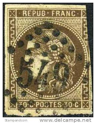 France #46a Used 30c Dark Brown Ceres Of 1870 - 1871-1875 Ceres