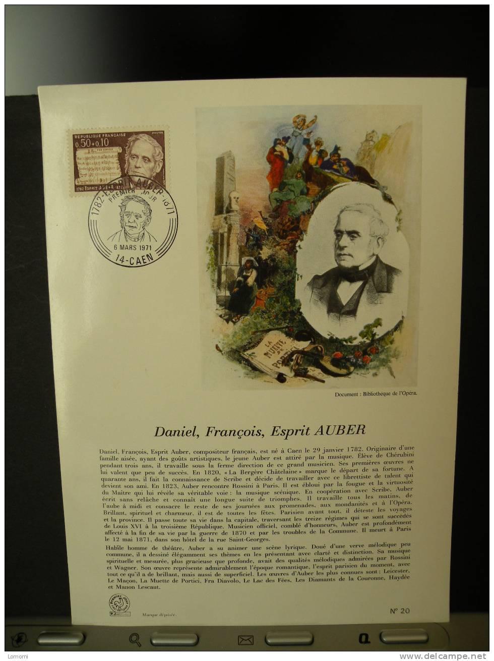 Daniel François Esprit AUBER  , Document  .6.03.1971 Caen FDC  . - 1970-1979