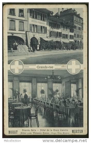SUISSE MORAT /  Carte Double Vues Grande Rue Et Hotel De La Croix Blanche    / - FR Fribourg