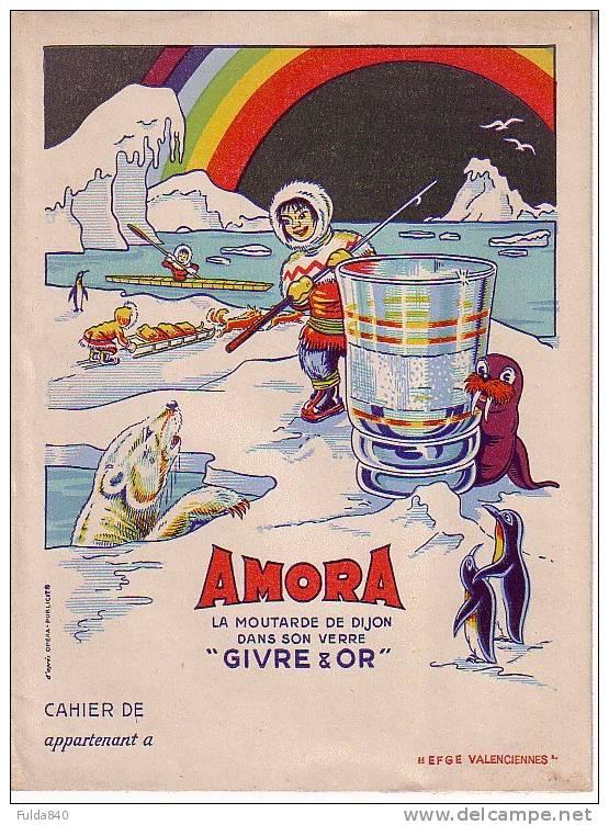 """ARMORA.     La Moutarde De Dijon Dans Son Verre """"Givre D´Or"""".     (Protège Cahier Publicitaire) - Buvards, Protège-cahiers Illustrés"""
