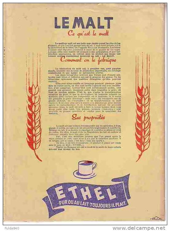 Le Bon Malt D´Alsace  ETHEL Pur Ou Au Lait Toujours Il Plait.    (Protège Cahier Publicitaire) - Buvards, Protège-cahiers Illustrés