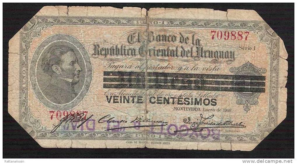 URUGUAY  P14  20  CENTESIMOS  1918   VG Tape Scotch - Uruguay