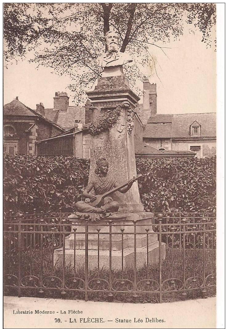 CPA 72 LA FLECHE  - Statue De Leo DELIBES - La Fleche