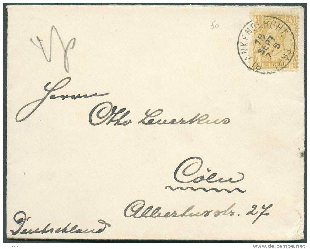 N°50 - 50 Centimes Ocre Obl. Sc BLANKENBERGHE S/L. En Double Port Du 15 Septembre 1893 Vers Cöln. 4898 - 1884-1891 Leopold II