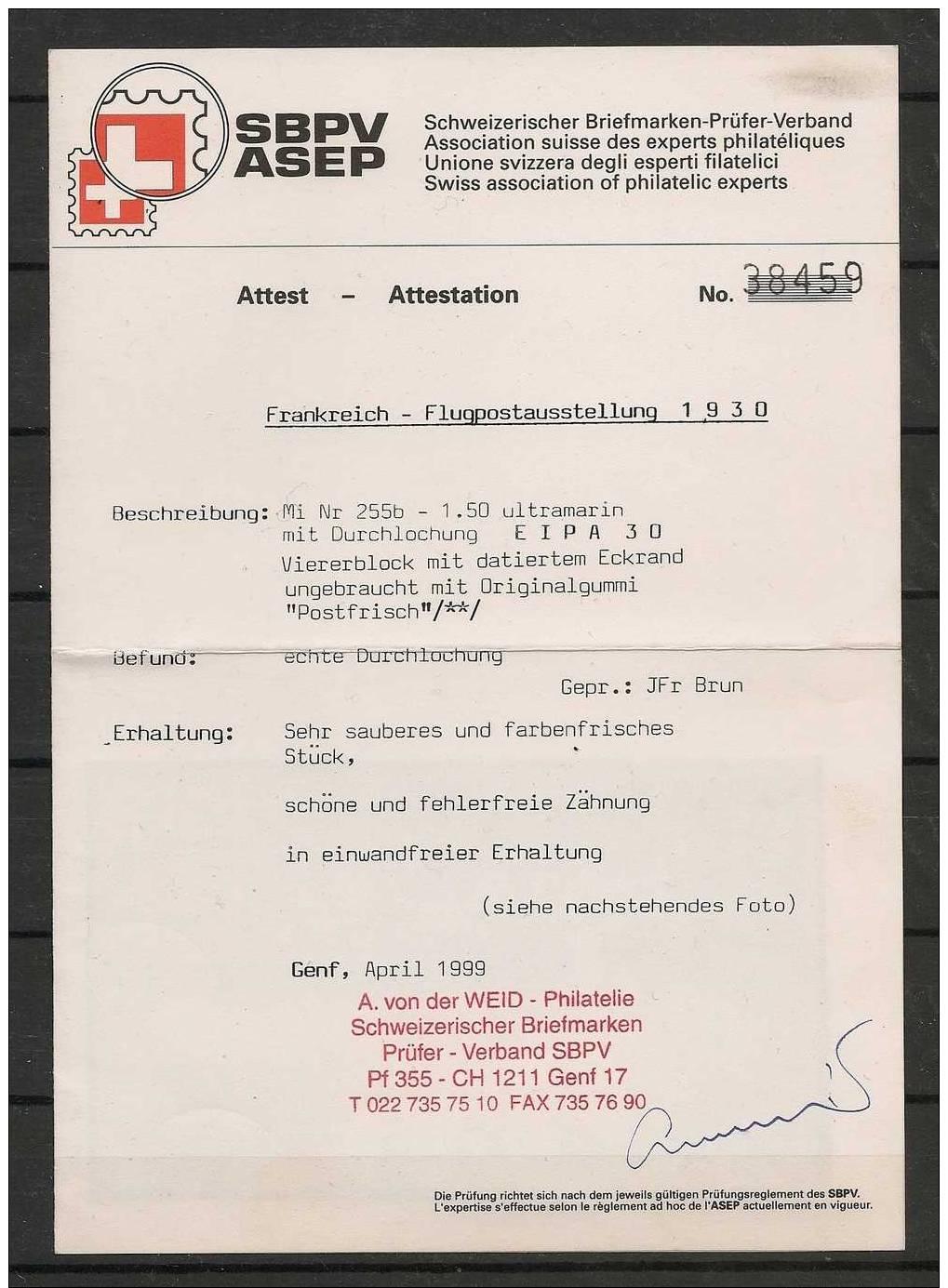 Poste Aérienne N°6c EIPA En Bloc De 4 Coin Daté Du 16 Septembre 1930 - Neuf Luxe ** Signé Brun - Aéreo