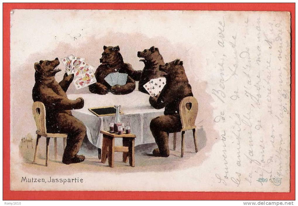 La Partie De Cartes, Par Une Famille D´ours... - Cartes à Jouer