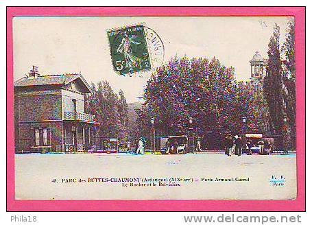 PARC DES BUTTES CHAUMONT PORTE ARMAND CARREL LE ROCHER ET LE BELVEDERE MARCHANDS AMBULANTS - Arrondissement: 19