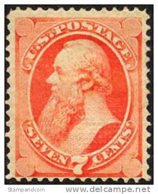 US #138 Mint Hinged 7c Stanton From 1871 - Unused Stamps