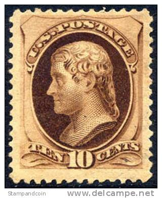 US #188 VF/XF Mint Hinged 10c Jefferson (w/secret Mark) From 1879 - Unused Stamps