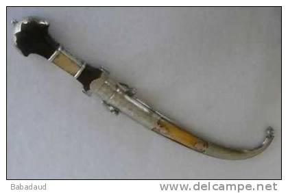 Jambiya / Koumaya Dagger From Morocco, Circa 1900, Brass, Silver - Knives/Swords