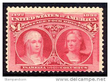 US #244 Mint Hinged $4 Columbian Expo From 1893 - Unused Stamps