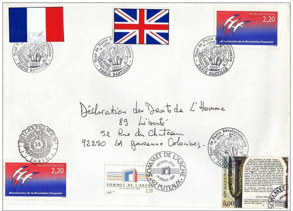 Enveloppe Verso Marianne Rouge 2,30f Cachet Dernier Jour De 1989, Recto: Cachets Sommet De L´arche,paris-bastille, Phile - Documents De La Poste