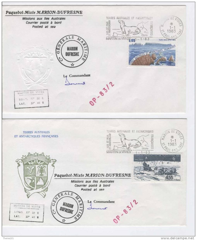 TAAF, Lot 2 FDC Diff# 1983 TTB - Terres Australes Et Antarctiques Françaises (TAAF)