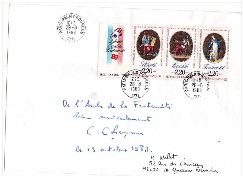 Enveloppe Signée Par Claude Cheysson Le 13/10/1989, Triptyque N°2576 Cachet Palais Bourbon 26/8/1989 - Documents De La Poste
