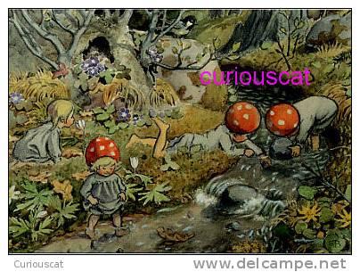 MUSHROOM CHILDREN PLAYING In CREEK  TOMTEBOBARNEN PILZKINDER POSTCARD ELSA BESKOW SWEDEN - Other Illustrators