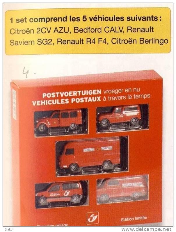 2009- 5 Véhicules De La Poste Echelle 1 64- CITROEN 2CV-BERLINGO-BEDFORD CALV-RENAULT SAVIEM SG2-R4 F4-MARQUE MINICHAMPS - Publicitaires - Toutes Marques