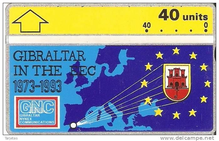 Nº 22 TARJETA DE GIBRALTAR DE EUROPEAN ECONOMIC NUEVA-MINT - Gibraltar