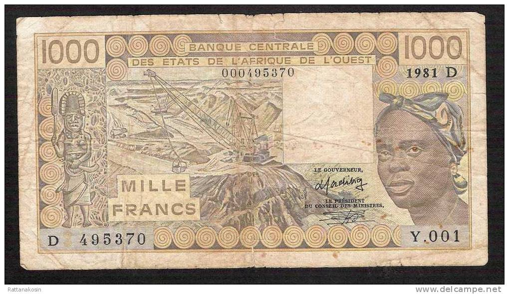 WAS MALI P406Db 1000  FRANCS   1981 Signature 15   FINE - Mali