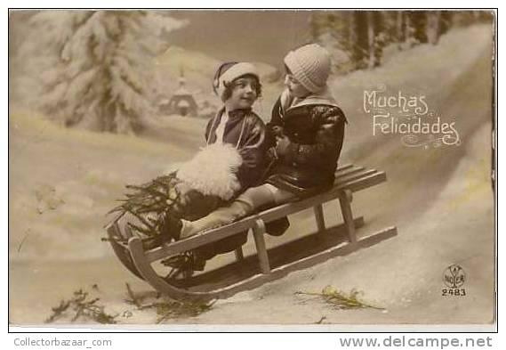 Real Photo POSTCARD Ca 1900 Christmas Children Snow - Navidad