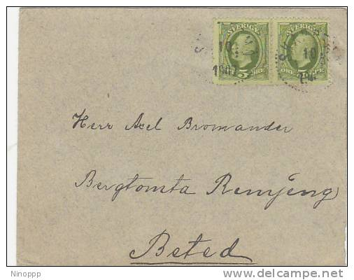 Sweden-1907 5ore Green Pair On Cover - Sweden