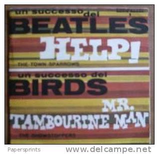 45 Giri Vinile POP (disco Tascabile) - THE TOWN SPARROWS (Help), THE SHOWSTOPPERS (Mr Tambourine Man) - RARO - ORIGINALE - Formati Speciali