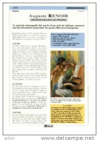 Reproduction De Jeunes Filles Au Piano, D'Auguste Renoir (avec Fiche Explicative) - Sammelkarten, Lernkarten