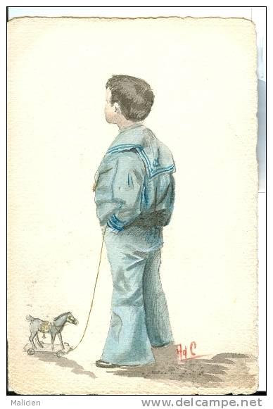 ILLUSTRATEURS-  Illustrateur  Enfants- Ref 609- Dessin -jouet Cheval A Bascule    -carte Bon Etat - - Illustrateurs & Photographes