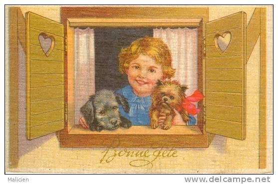 ILLUSTRATEURS-  Illustrateur  Enfants- Ref 588-les Petits Chiens - Bonne Fete  -carte Bon Etat - - Illustrateurs & Photographes