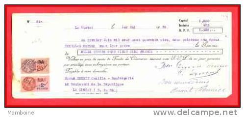 La Ciotat   1938  Boulangerie Bld De La Republique - Bills Of Exchange