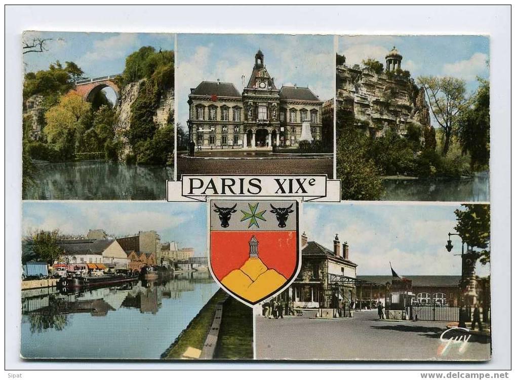 75019 / PARIS / BLASON ARTISTE HERALDISTE ROBERT LOUIS / BUTTES CHAUMONT / MAIRIE / CANAL OURCQ / ENTREE ABATTOIRS - Arrondissement: 19