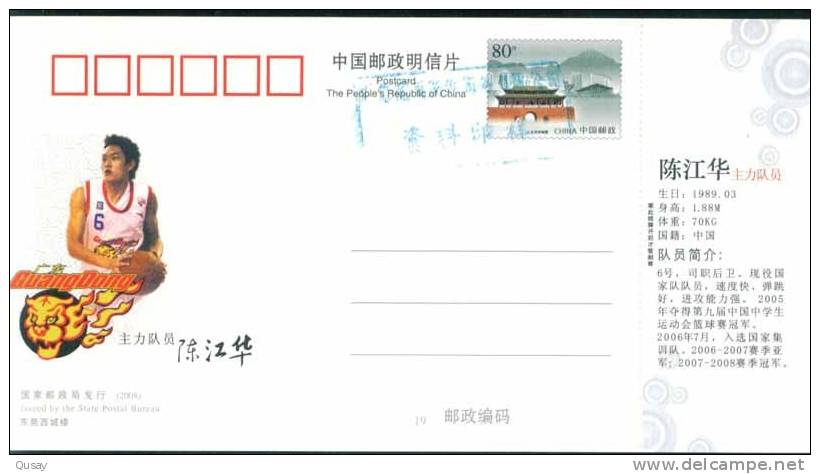 Cheng Jianghua - Player  - Guangdong Hongyan Basketball Team , Prepaid Card, Postal Stationery - Vlinders