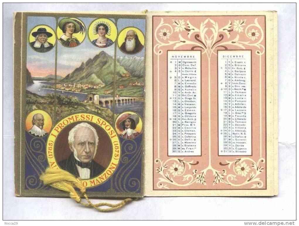CALENDARIETTO 1939 POETI D´ITALIA: G. D´ANNUNZIO - CARDUCCI - MANZONI - TASSO - Calendari