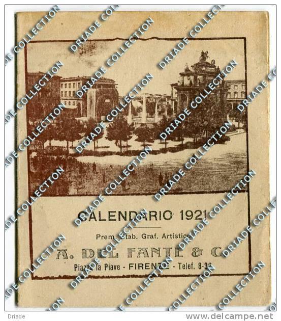 CALENDARIETTO PUBBLICITA LITOGRAFIA E TIPOGRAFIA A. DEL FANTE FIRENZE ANNO 1921 - Klein Formaat: 1921-40