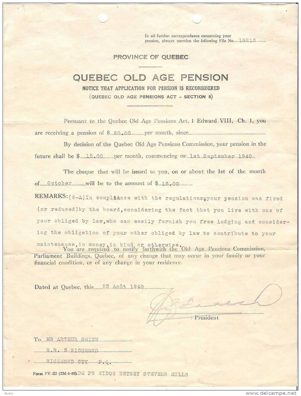 Quebec Old Age Pension Notice That Application For Pension Is Reconsidered 1940 - Announcements
