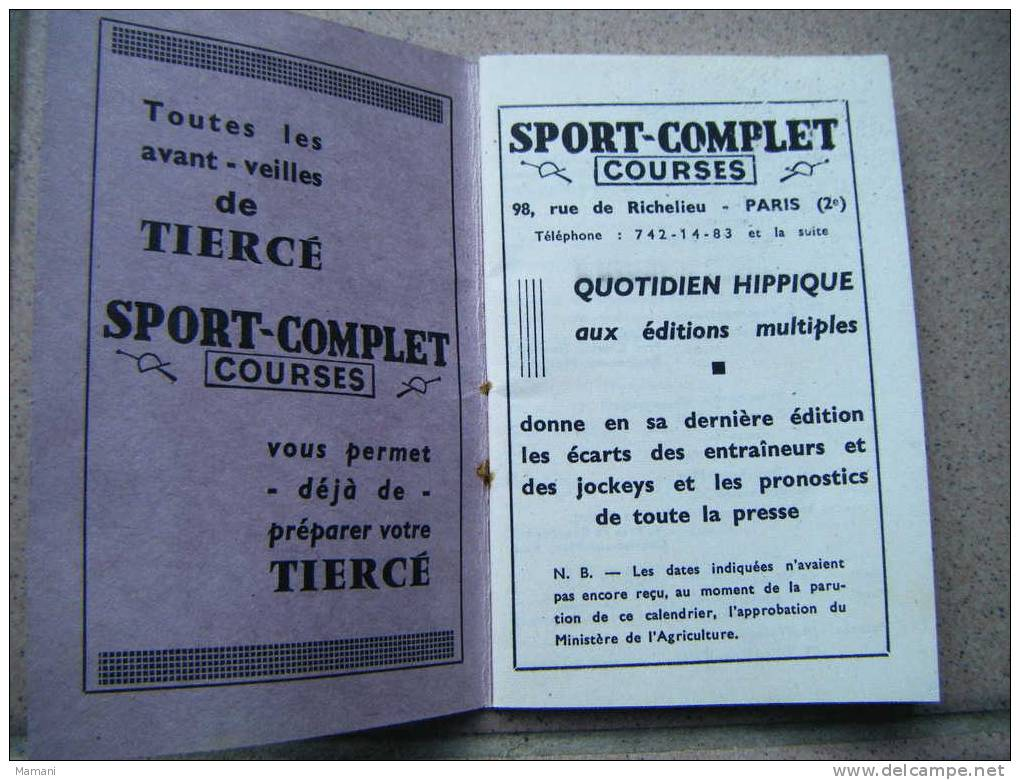Calendrier Des Courses 1967 Offert Par Sport-complet -courses-pub Biere Rinck-berteil Chapelier -cafe Le Bergerac- - Calendriers