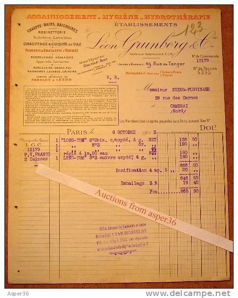 Chauffe-Bains, Robinetterie, Ets Léon Grunberg & Cie, Rue De Tanger, Paris 1913 - 1900 – 1949