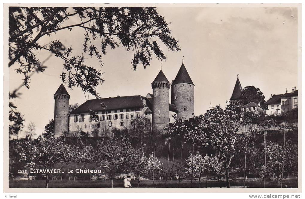 ESTAVAYER : Le Château - Oblitérée Le 20.VIII.1945 - FR Fribourg