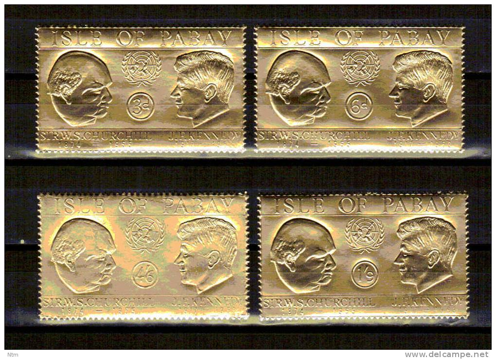 ISLE OF PABAY Golden Stamps Kennedy JFK And Chruchill, 4 Stapms  MNH ** - Emisiones Locales