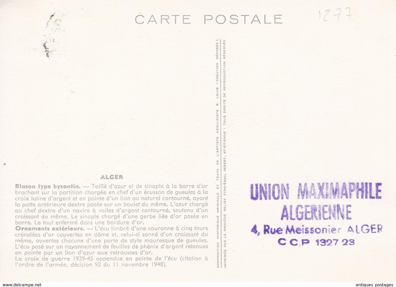 Algérie Armes De La Ville Alger 1959 Blason - Algeria (1924-1962)