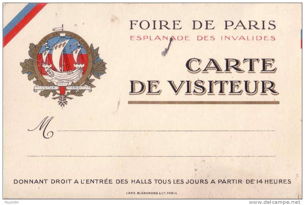 FOIRE DE PARIS-ESPLANADE DES INVALIDES-CARTE DE VISITEUR - BELLE CARTE AVEC TEXTE AU VERSO - Tickets - Entradas