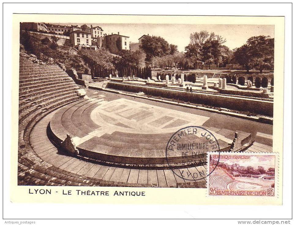 Carte Maximum 1957 Lyon Rhône Théâtre Antique - 1950-59