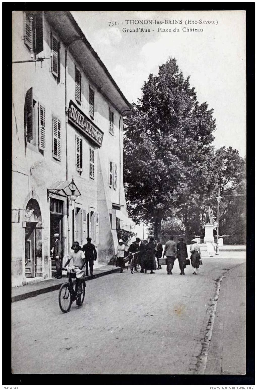 Thonon Les Bains - Grand'Rue - Place Du Château - Carte Vierge En Bon état - Thonon-les-Bains