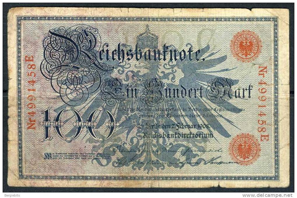 1908 Germany 100 Mark Banknote In Circulated Condition - [ 2] 1871-1918 : German Empire