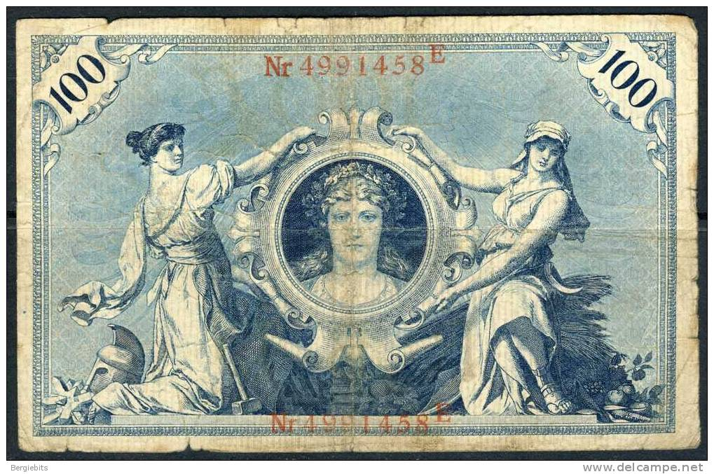 1908 Germany 100 Mark Banknote In Circulated Condition - [ 2] 1871-1918 : Empire Allemand