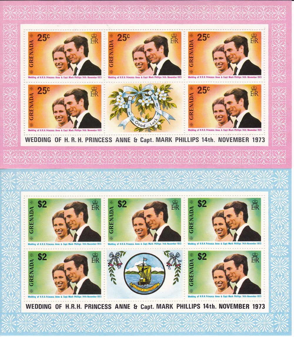 GRENADA   1973  Wedding  Princess Anne - Mark Phillips   Complete  Sheets Of 5 + Label   MNH ** - Grenada (1974-...)